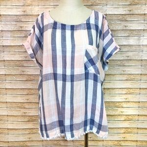 Plaid linen boxy pullover shirt sleeve blouse 0412
